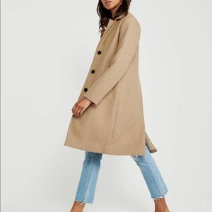 Abercrombie Wool Blend Dad Coat (Camel)